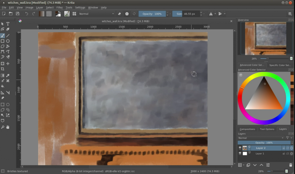 how to start a digital painting witch's wall shadow block in