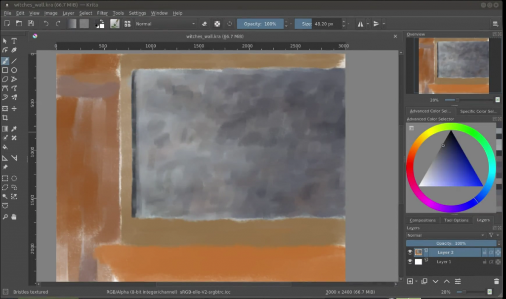 how to start a digital painting witch's wall sketch