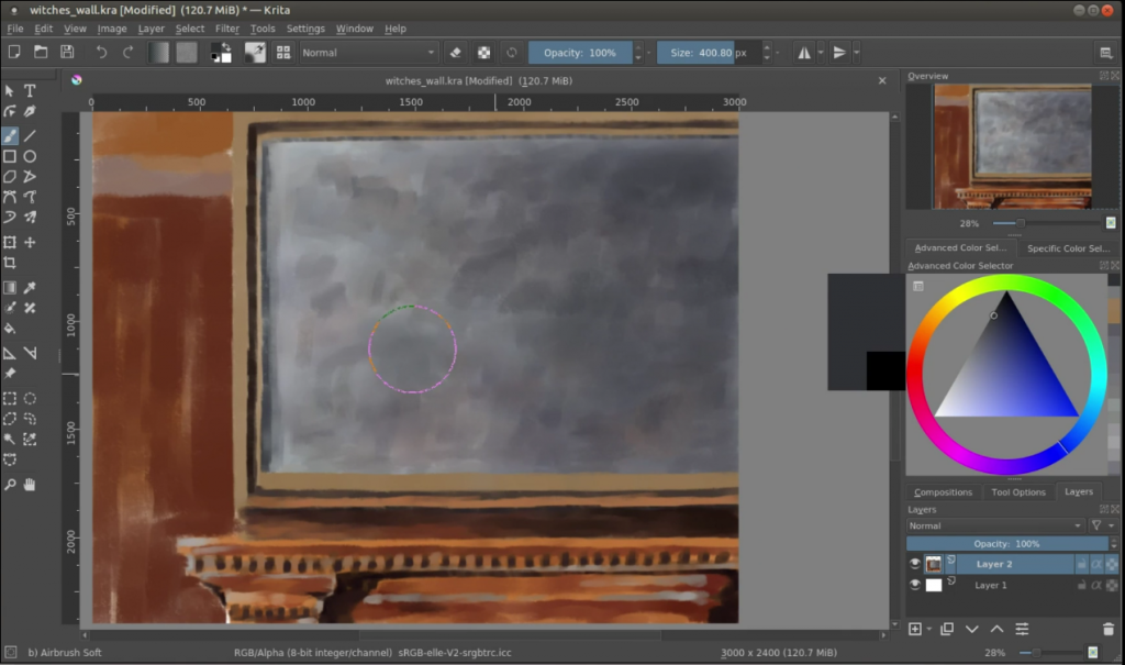 how to start a digital painting witch's wall underpainting