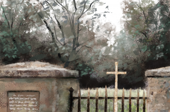 Cemetery Gate Digital Painting